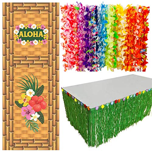 Hawaiian Aloha Party Decorations | Luau Party Supplies | 36 Pcs Hawaiian Leis | Aloha Door Cover | Grass Table Skirt | Decor Set for Tropical, Hula, Tiki, Beach, Moana & Birthday Theme Parties ()