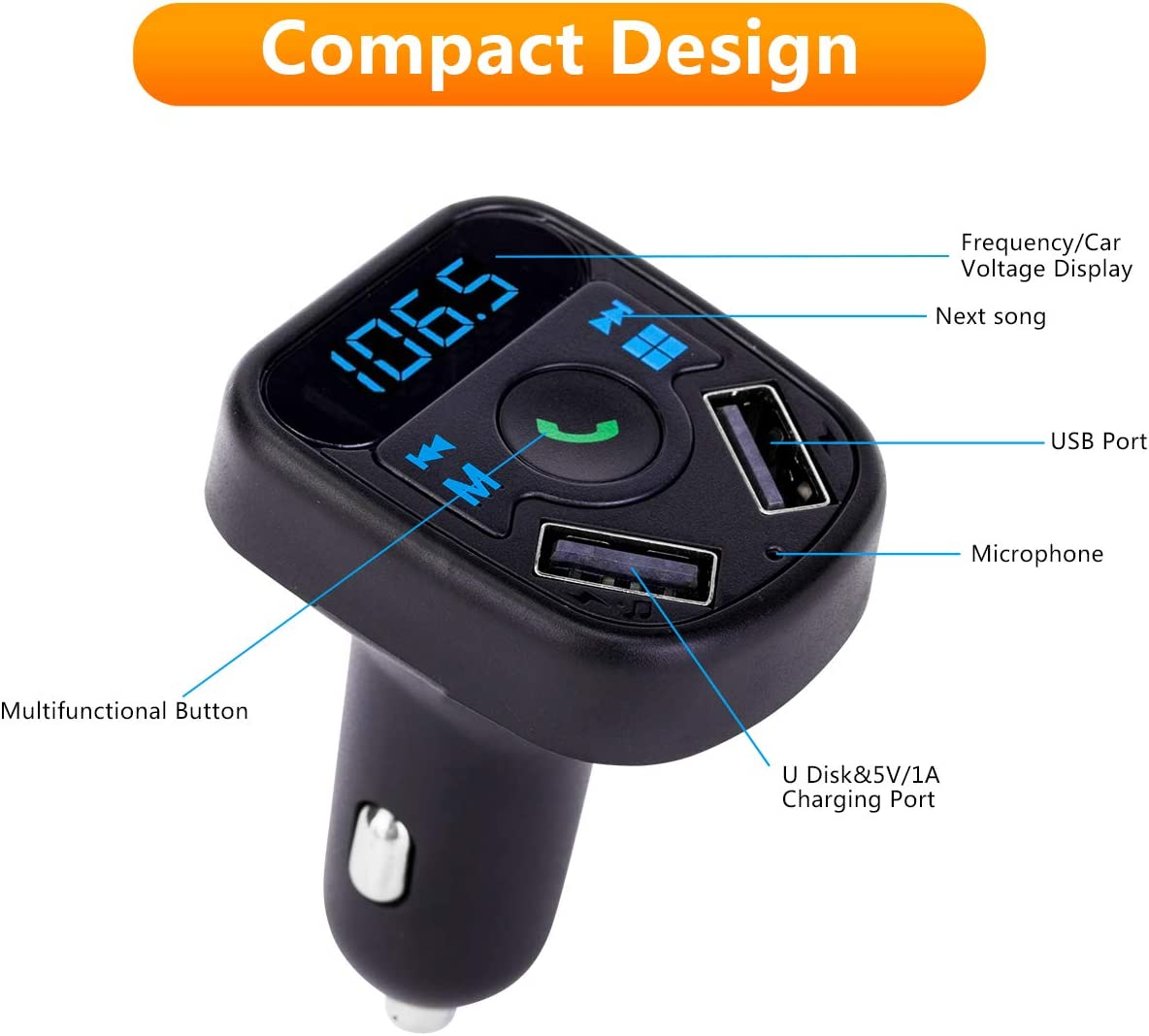 in-Car Wireless Radio Transmitter Adapter Music Player Car Kit W Blue Circle Ambient Light Hands Free Calling SOOTEWAY Bluetooth FM Transmitter TF Card /& USB Flash Drive Support 2 USB Ports