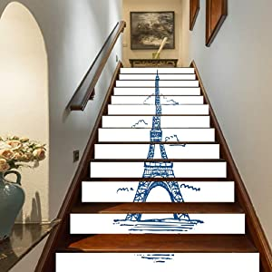"Eiffel Tower Staircase Stickers,Illustration of Eiffel Tower in Paris Modern French City Skyline Minimalistic Self-Adhesive Wall Stair Stickers Mural Wallpaper for Home Decor,39.3""x7""x13PCS"