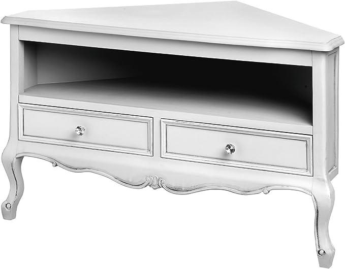 Shabby Chic blanco francés estilo antiguo mueble de esquina para televisor/Soporte Para detalle de cristal con (h17984): Amazon.es: Hogar