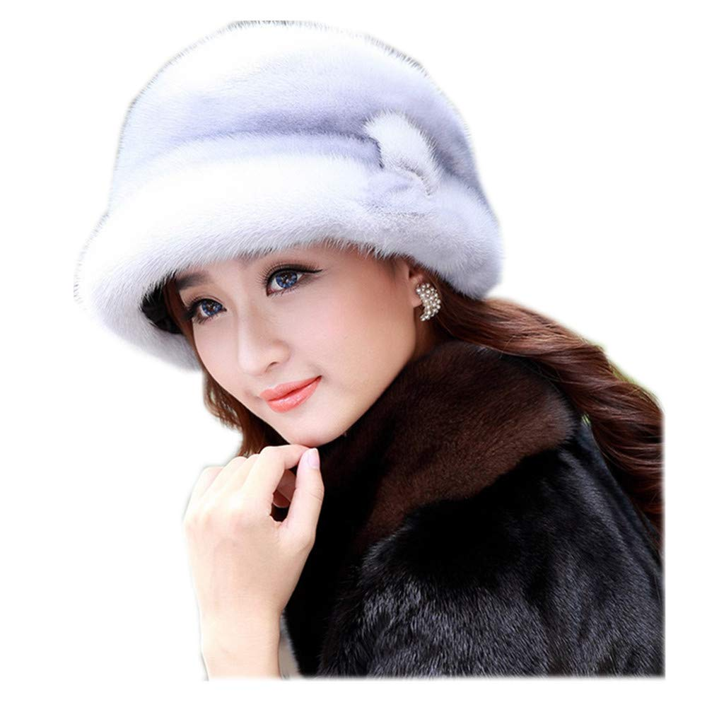 MH Bailment Womens Mink Warm Winter Top Hat Hat Warm Ear Protection (L(57-58cm), Sapphire)