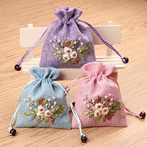 Corcio MB-01 Embroidery Silk Brocade Cotton Sachet Drawstring Party Wedding Candy Earrings Jewelry Bags Wedding Party Bag Gift Bags 2pcs/set(XB-01) - Embroidered Sachet Bags