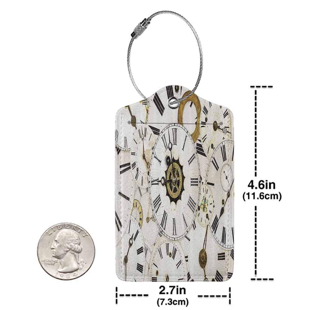 Durable luggage tag Antique Decor Collection Collection of Vintage Classic Clock Faces Aged Analog Time Head Minute Hour Print Unisex Coconut Gold W2.7 x L4.6