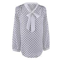 Internet Sexy Femme Chic T-Shirt Tie-Bow Tops Manches Longue Blouse Rayé Femme Col V Arc en Polyester Chemise Tunique Patchwork Haut Casual Lâche Chemise Classique