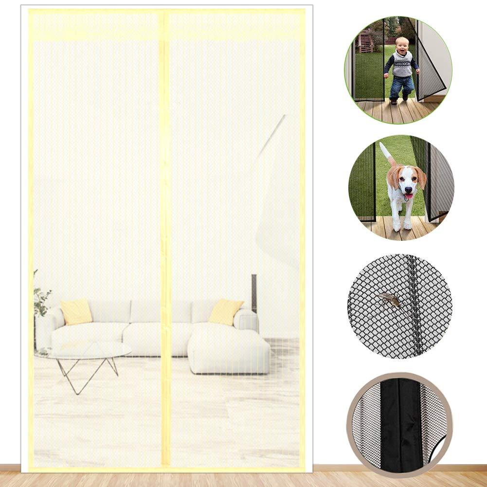 Ruban magique devoir /épais /écran de rideau en maille Mains libres R/églable Porte moustiquaire magn/étique dehors et laissez l/'air frais dans-brun W:100-120cm*H:190-210cm