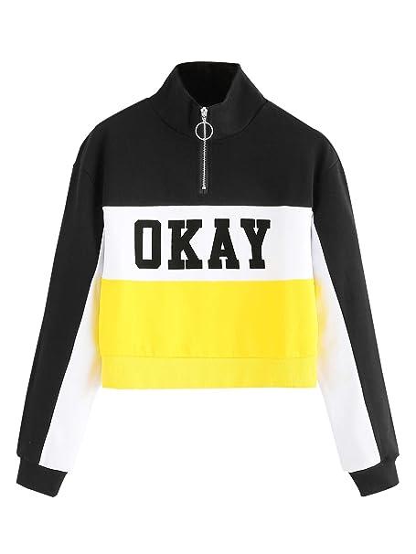 743a6f6188b4b6 MAKEMECHIC Women s High Neck Zip Front Letter Print Crop Top Sweatshirt  Multi S
