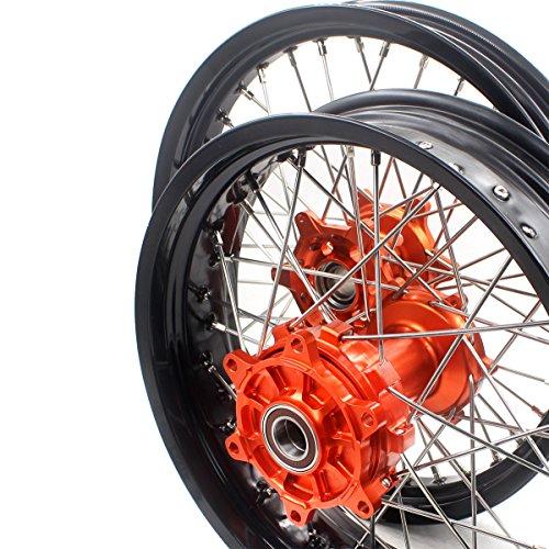 KKE 2.5×19/4.25×17 KTM 950/990 03-18 CUSH DRIVE SUPERMOTO WHEELS RIMS SET MOTARD COMPLETE FRONT REAR - Wheel Rear Cush Drive