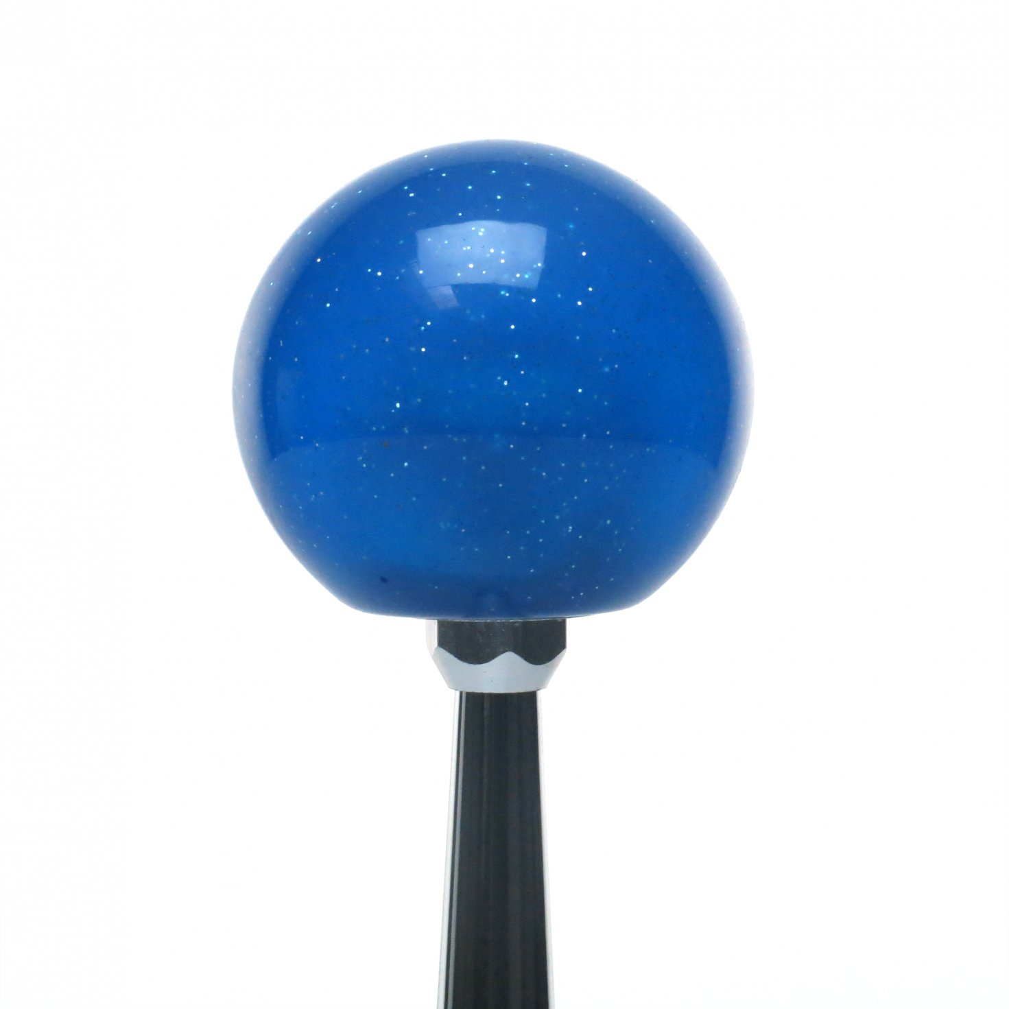 American Shifter 24665 Blue Metal Flake Shift Knob White Old School Microphone