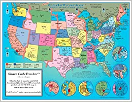 2002 CodeTracker Area Code Map area codes and time zones for the
