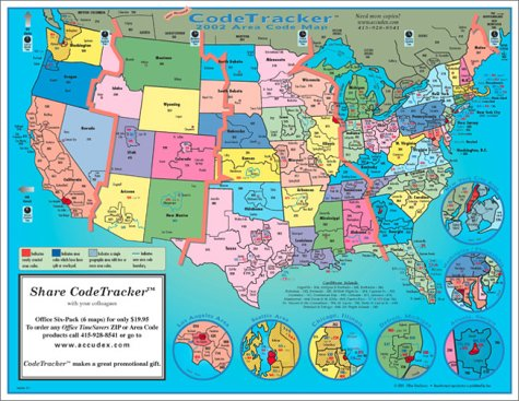 2002 CodeTracker Area Code Map: area codes and time zones for the US ...