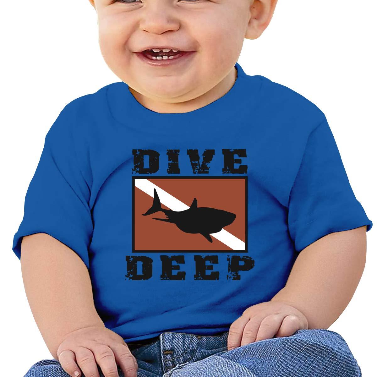 XHX403 Shark Scuba Flag Dive Deep Infant Kids T Shirt Cotton Tee Toddler Baby 6-18M