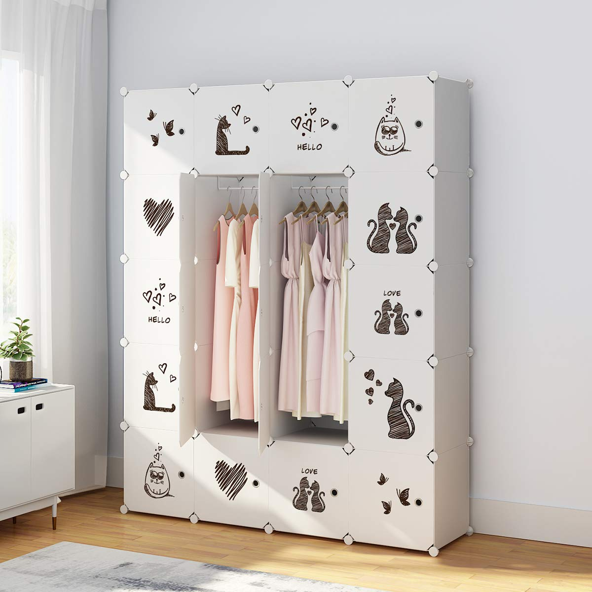 KOUSI Portable Clothes Closet Wardrobe Bedroom Armoire Dresser Cube Storage Organizer, Capacious & Custom-RB-CAT (8 Cubes 4 Hanging Clothes)
