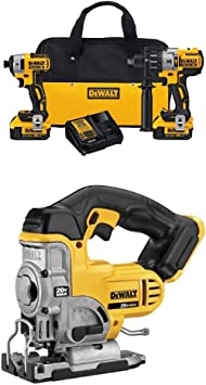 DEWALT DCK299M2 20V MAX XR 4.0Ah Premium Cordless Hammerdrill & Impact Driver Combo Kit with DCS331B 20-Volt MAX Li-Ion Jig Saw (Tool Only)