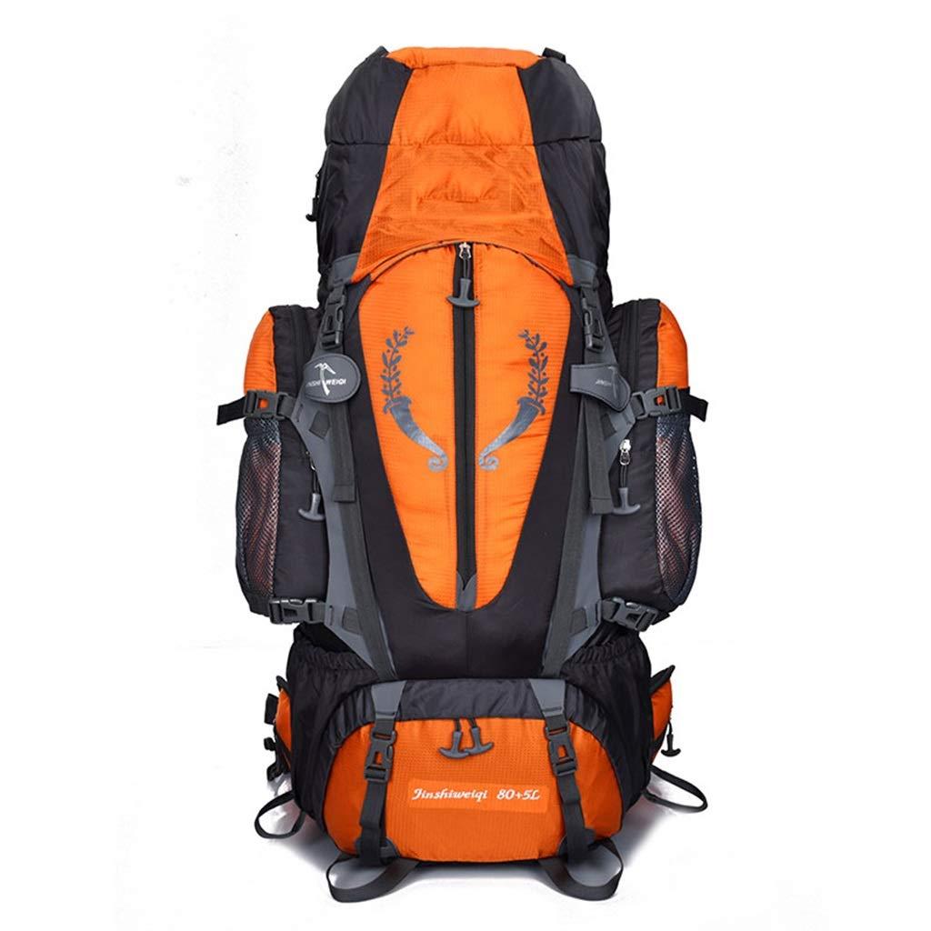 旅行バックパックアウトドアスポーツ防水軽量通気性耐摩耗性リュックサック登山キャンプバックパック釣り旅行サイクリングバックパック男性と女性80 + 5 L  Orange B07P994KFK