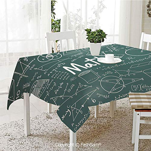 AmaUncle 3D Dinner Print Tablecloths School Board Full of Drawings Formulas Shapes Theory Math Word Kitchen Rectangular Table Cover (W60 -