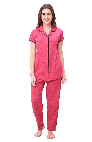 ccd82ecc02 SWEETNIGHT Women s Cotton Top and Pyjama Set with Half Sleeve Night Suit  (Carrot Pink