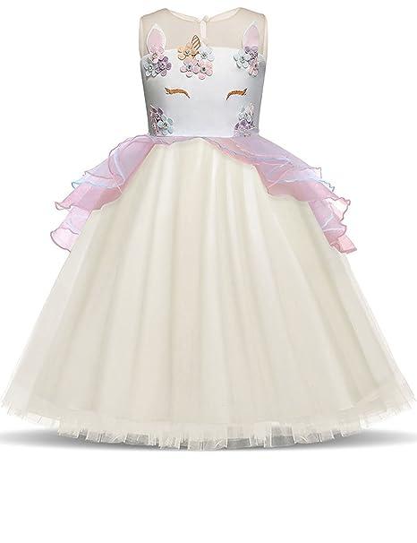 ibtom castillo bebé niña flor de unicornio disfraz Cosplay vestido princesa  de cumpleaños eventos fiesta baile cca49aaf98a6