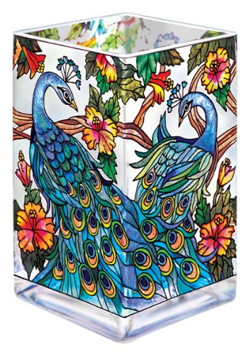 Amia Glass Vase/Votive with a Colorful, Hand-Painted Peacock Design, 6-Inches Tall - Painted Glass Vase