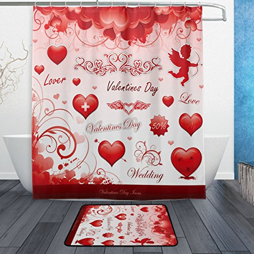 (ALAZA Set of 2 Heart Love 60 X 72 Inches Shower Curtain and Mat Set, Happy Valentine's Day Waterproof Fabric Bathroom Curtain and Rug Set with Hooks)