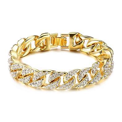 1f566f68a44 Fusamk Hip Hop Plated 18K Gold Stainless Steel 14MM Wide Cuban Chain  Bracelet Crystal Link Bracelet,8 1/2 Wrist