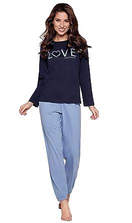 c8455fbeaa121f Moonline moderner und bequemer Damen Pyjama, aus 100% weicher Baumwolle,  Navy-Love