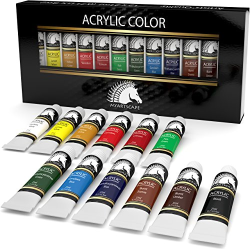 Acrylic Paint Set - 12 x 21ml Tubes - Heavy Body - Lightfast - Artist Quality Paints by MyArtscapeTM