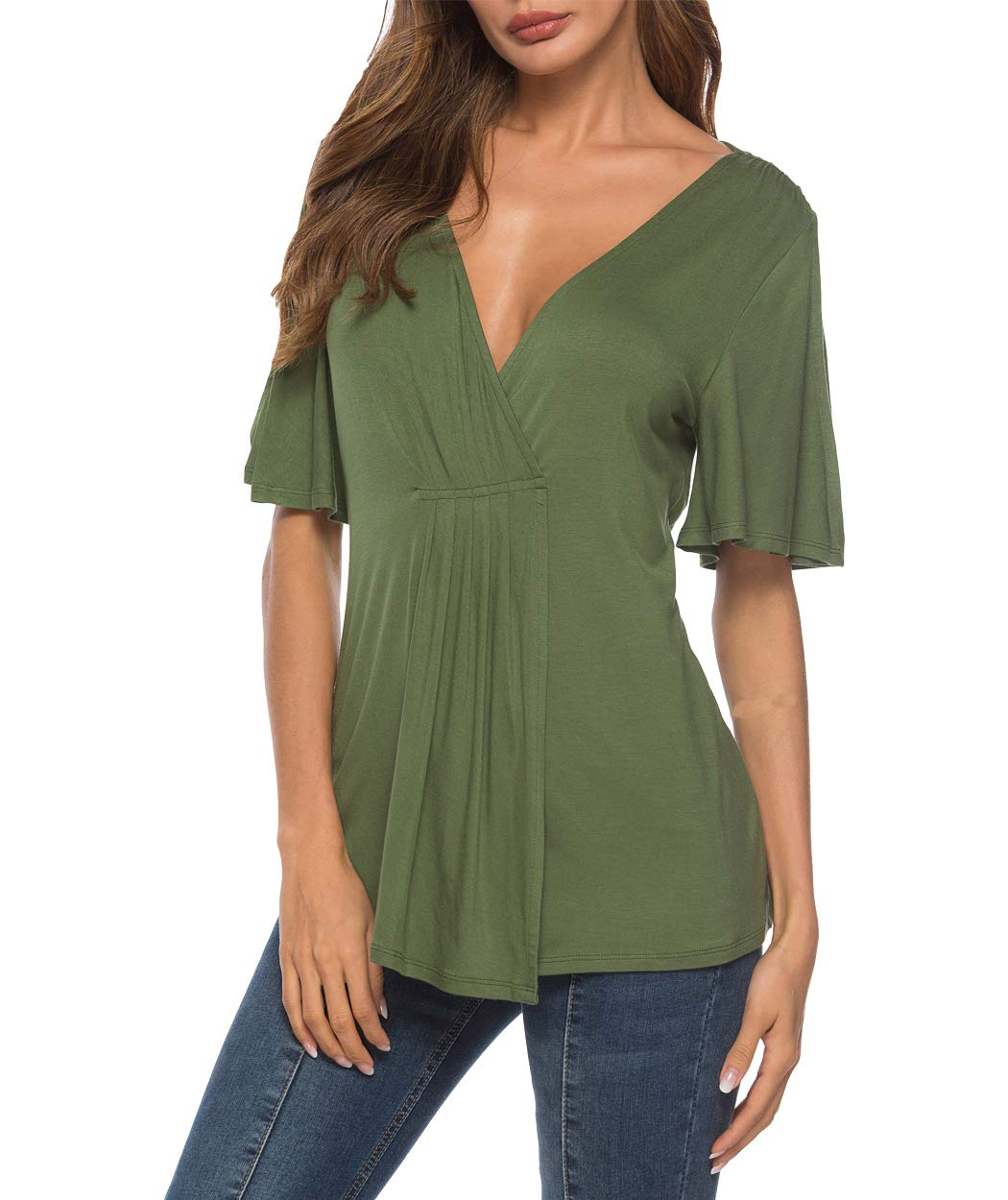 Eanklosco V Neck Shirts Womens Sexy Short Sleeve Cold Shoulder Tops Unique Ruffle Front Side Slit T Shirts (M, Army Green)