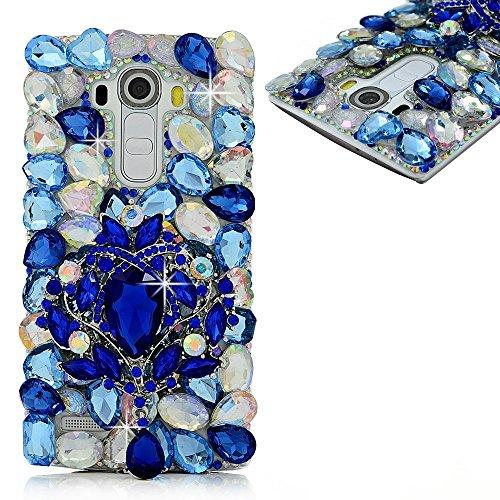 (Spritech(TM LG G Stylo Hard Case,Bling Crystal 3D Handmade Rhinestone Design Clear Phone Cover for LG G Stylo)