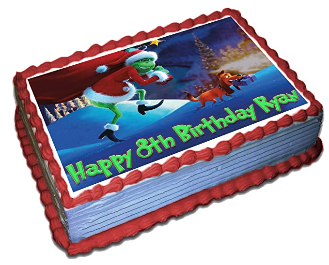 """Grinch Themed 21st Birthday Cake Topper 8/"""" 20cm Round Icing Decoration Adult"""