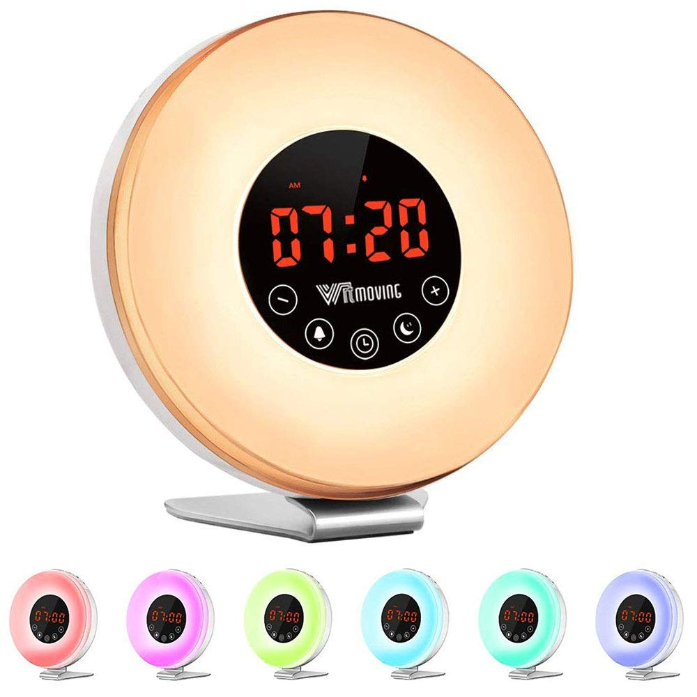 Alarm Clock,Witmoving Wake Up Light Bedside Sunrise Simulator with Brightness Automatic Adjustment, Nature Sounds ,FM Radio,Night Light,Easy Set Up via Touch Control,Powered by Battery or USB Charger product image