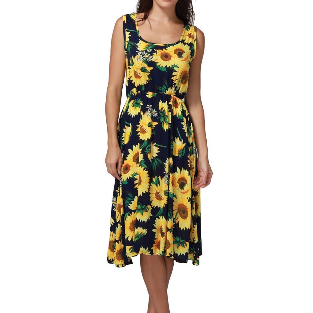 Anglewolf Womens New Spring Fashion Printing Off Shoulder Sleeveless Dress Princess Dress Bohemian Casual O-Neck Knee-Length Jewelry Dress Summer Sundress ...