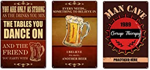 """TOARTi Vintage Bar Theme Iron Painting, Funny Drinking Beer Inspirational Quote Retro Metal Tin Wall Art Poster, Set of 3 (8"""" x12""""), Creative Cafe Bar Pub Plaque Sign for Restaurant Dining Room Decor"""