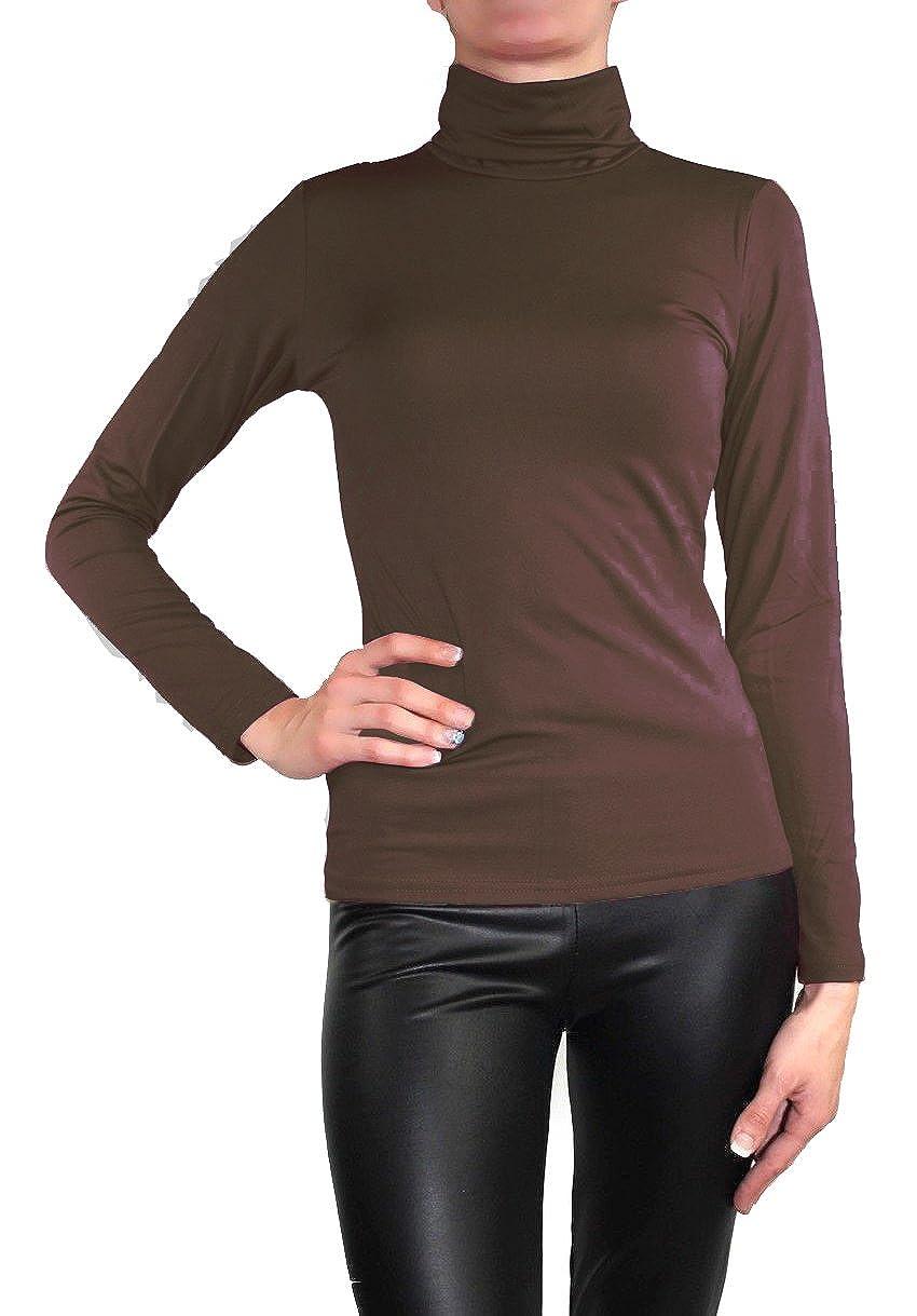 Muse Damen Langarm warmes Stretch Pullover Rollkragen Thermo Pulli Top