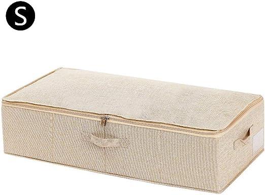 Baiansy Caja de almacenamiento plegable para debajo de la cama, contenedor de tela con tapa, organizador de gran capacidad para edredones, ropa de cama, mantas y ropa, tela plástico, beige, Small: Amazon.es: