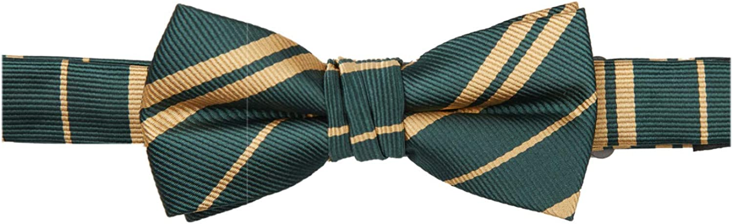 Hunter Green Gold Jacob Alexander Woven Double Stripe Boys Pre-Tied Banded Bow Tie