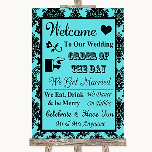 Tiffany Blue Damask Welcome Order Of The Day Personalized Wedding - Tiffany Order Number