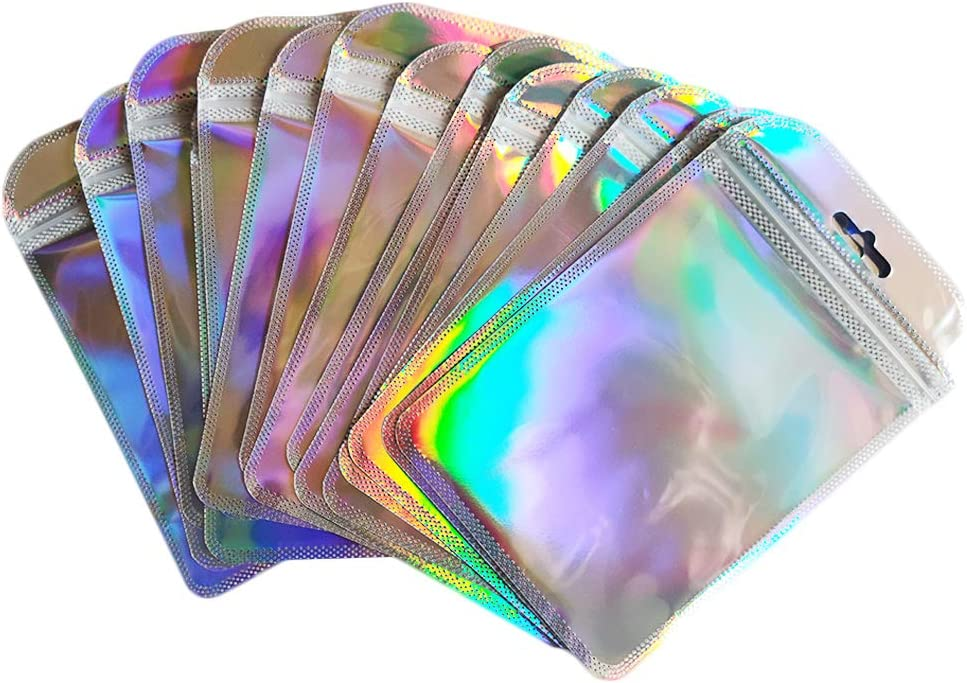 50pcs Resealable Smell Proof Bags, Holographic Color Foil Ziplock Bags, Flat Metallic Mylar Foil Pouches for Party Favor Food Storage (4X5)