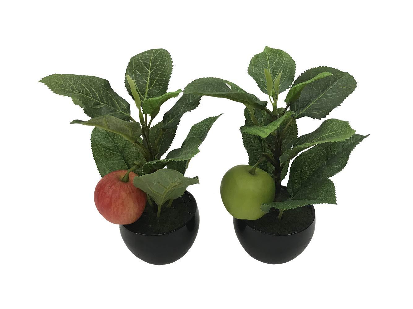 Simulation Fruit Tree Artificial Apple Mini Bonsai Potted Plant Office Home Table Decor Set of 2