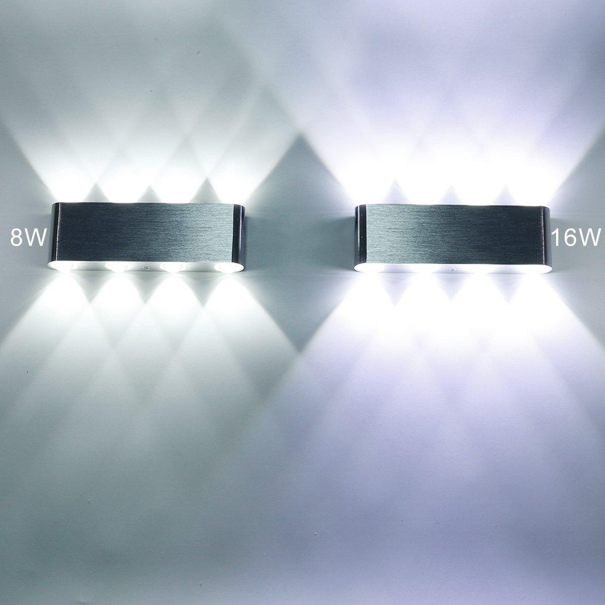 Escaliers Salon Couloir 6W Blanc LED KTV KAWELL Moderne Applique Murale LED Lampe Murale Up Down Alliage Daluminium Int/érieur pour Chambre /à Coucher