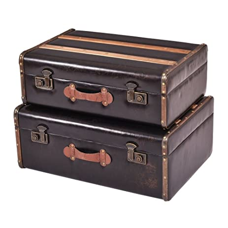 Attractive Set Of 2 Vintage Style Wooden Suitcase Storage Boxes Home Oganization Decor  Box