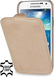 StilGut UltraSlim Case, custodia in pelle per Samsung Galaxy S4 Mini (i9195), sabbia old style