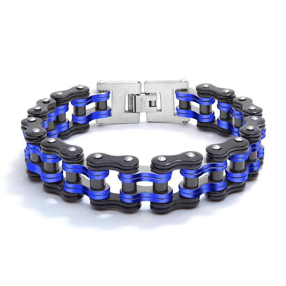 Cha/îne de Maillons pour Bracelet de Moto Reiko Bracelet en Acier Inoxydable pour Hommes Maillon de V/élo