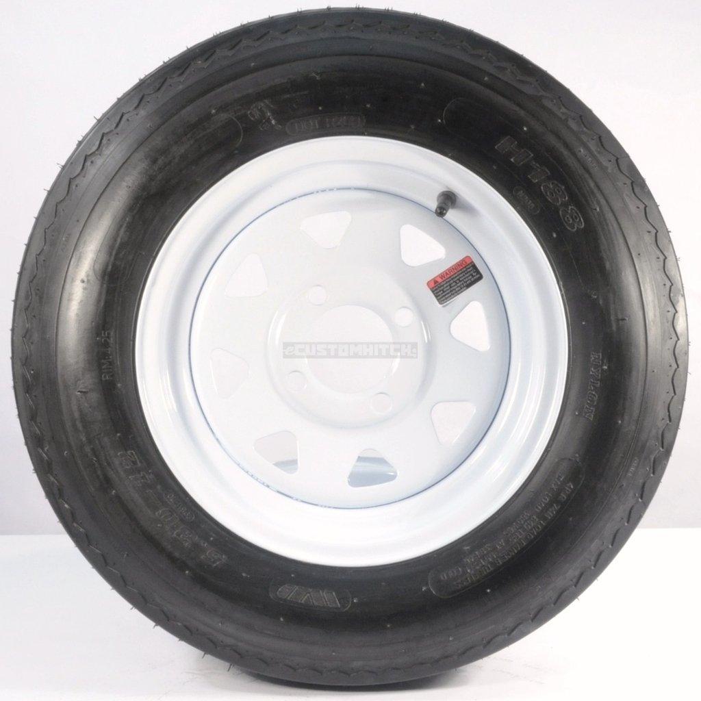 eCustomRim Two Trailer Tires On Rims 5.30-12 530-12 5.30 X 12 4 Lug Wheel White Spoke