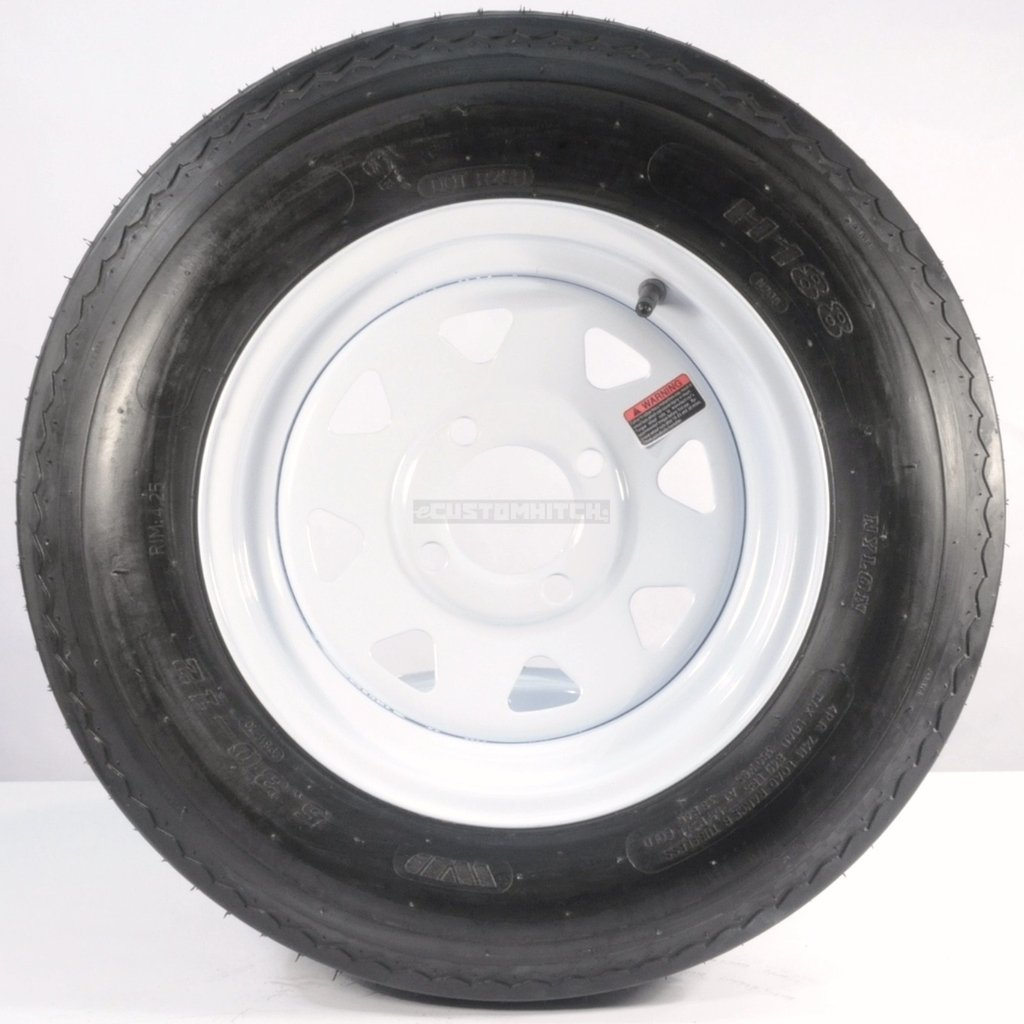 eCustomRim Trailer Tire + Rim 5.30-12 530-12 5.30 X 12 12'' 4 Lug Hole White Wheel Spoke
