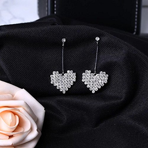 Tassel Shaped (s925 silver needle hypoallergenic diamond tassel earrings fashion Peach heart-shaped diamond earrings)
