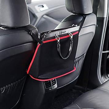 Seat Back Net Pouch for Purse Phone Pets Dogs Kids Disturb Stopper Dewsshine Universal Car Mesh Storage Organizer with 4 Headrest Hooks Black