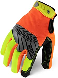 Ironclad Command Pro Work Gloves; Touch Screen Gloves Conductive Palm & Fingers, High Visibility, Performance Fit, Machine Washable, (1 Pair), Yellow and Orange, Large - IEX-HVP-04-L