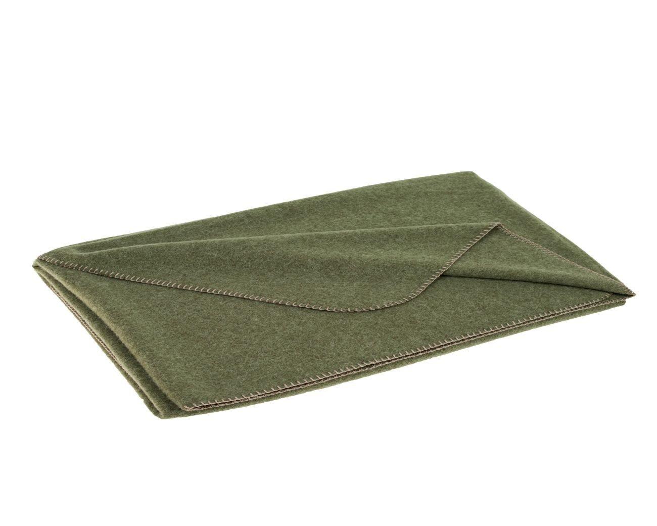 STEINER 1888 Hell olivgrüne Wolldecke 'Oliv' aus 50% Merinowolle und 50% Alpaka, 190x150cm, umkettelt, ca 1000 g, waschbar