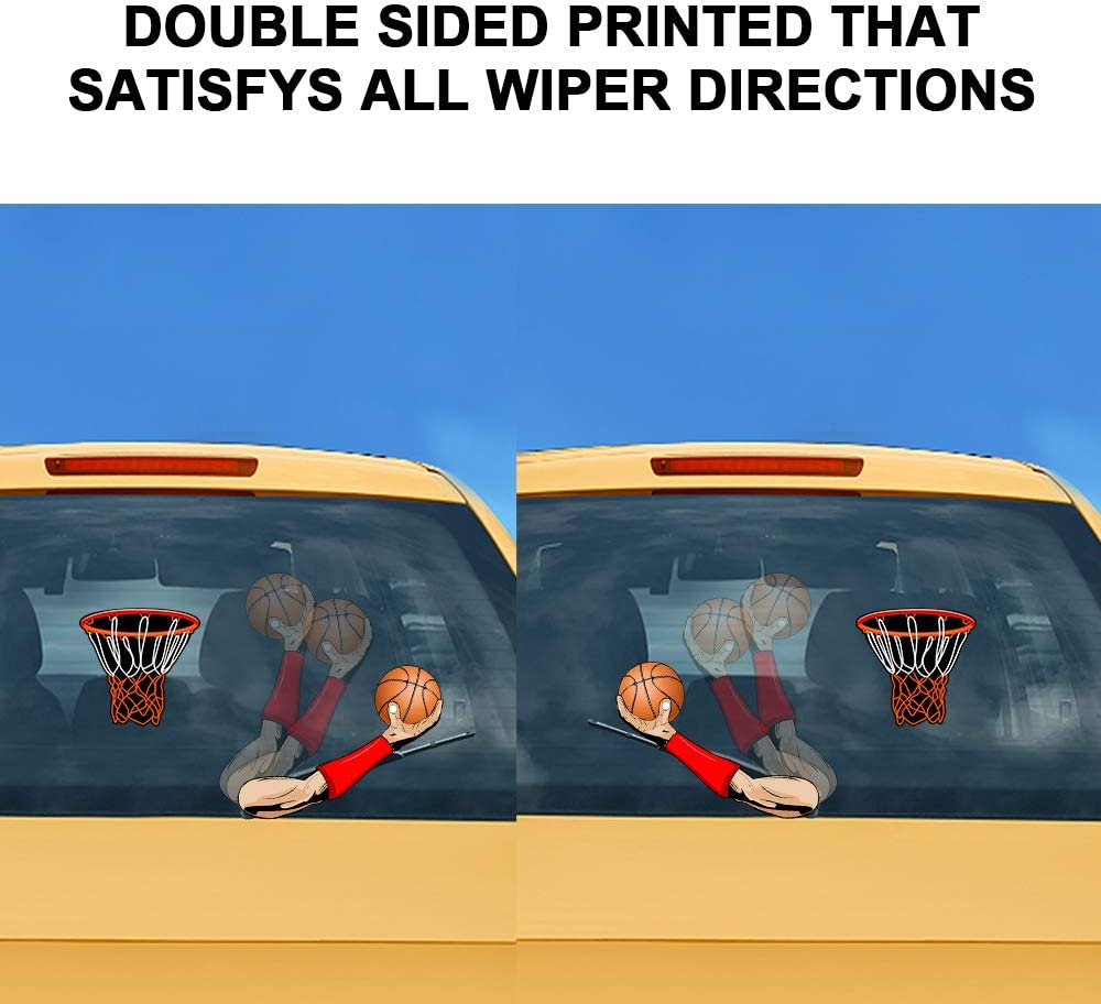 vylymuses Basketball dunk Car Rear Window Wiper Stickers Waving Wiper Decal Tag Removable Reusable Car Rear Windshield Stickers 3D Cartoon Car Stickers Christmas Decoration Black