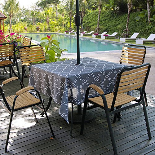 Aoohome 60 x 60 Inch Square Outdoor Tablecloth with Zipper Umbrella Hole, Polyester Spill-Proof Water Repellent Table Cover Quatrefoil Pattern for Summer Party, Machine Washable, Heavy Duty, Charcoal ()